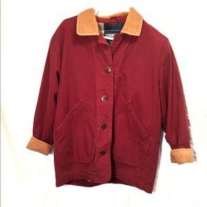 Barn Coat Maroon Flannel Jacket 100% Cotton Womens